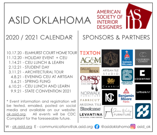 ASID 20-21 CALENDAR OF EVENTS